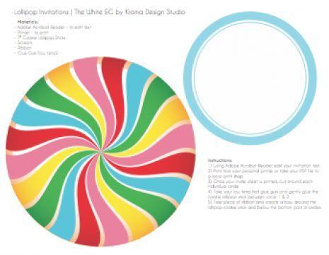 Lollipop Candy Land Printable Invitation (Printable PDF) | The White Eg - www.thewhiteeg.com