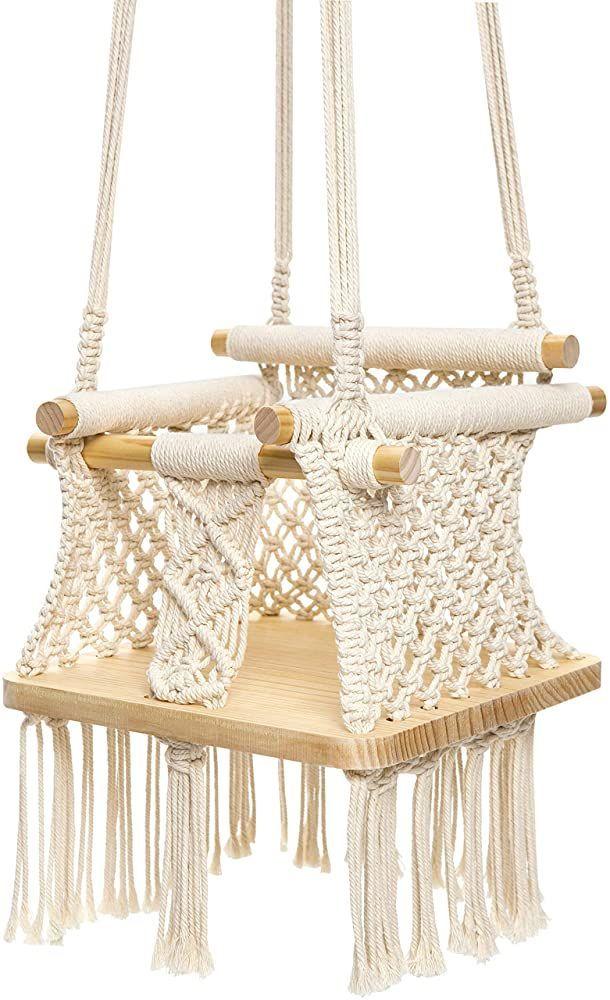 Balancoire Bebe Beige Bois Chaise Coton Fond Macrame Main Mkono Suspendus Mkono Bebe Balancoire Suspendus C Columpio Para Bebe Columpios Columpio