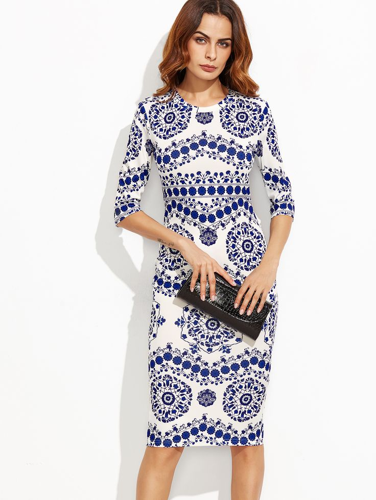 Shop Blue And White Porcelain Print Pencil Dress online. SheIn offers Blue And White Porcelain Print Pencil Dress & more to fit your fashionable needs.  $13.00
