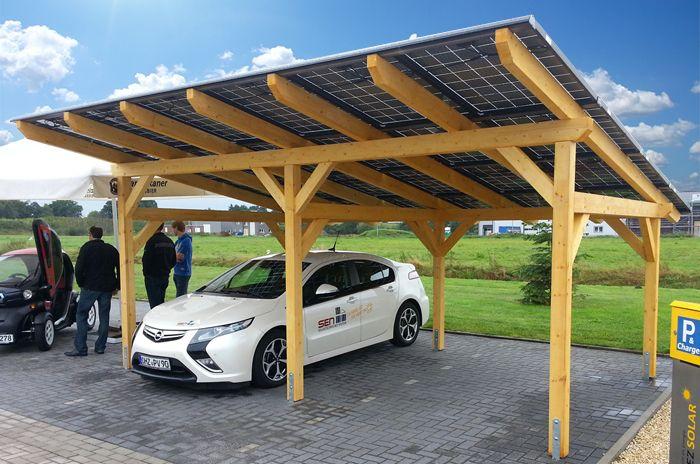 SEN SOL-50 Solar Carport Opel Ampera Elektroauto Holz Doppelglas