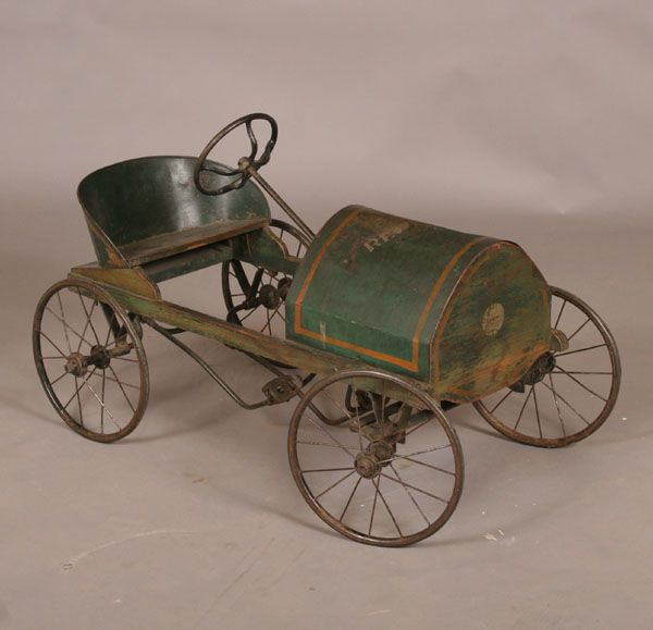 "Early Red Dot tin pedal car riding racer toy, ca. 1915; tin and wood construction, forged gears, original paint and stencil decoration. 35"" long. Original condition, mechanically sound.   Педальная машина Red Dot, около 1915 года, длина 89 см"