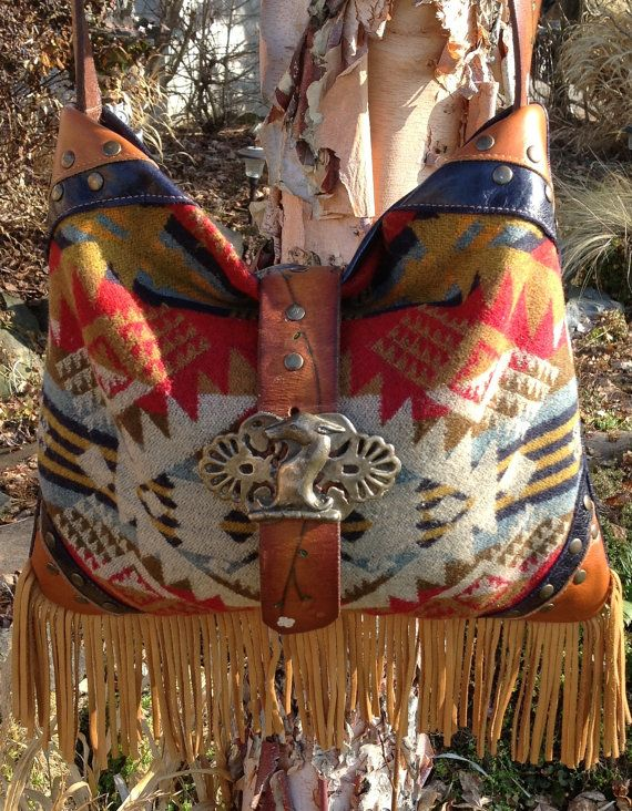 RESERVED for DONNA*****South Western Boho Navy Leather Handbag using Pendleton Wool and Vintage FIndings on Etsy, $325.00