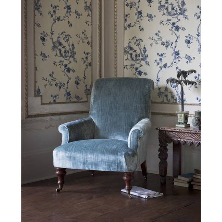 Palmerston Chair covered in Como silk velvet - teal. Inviting and comfortable. Perfect for the long evenings in front of the fire.