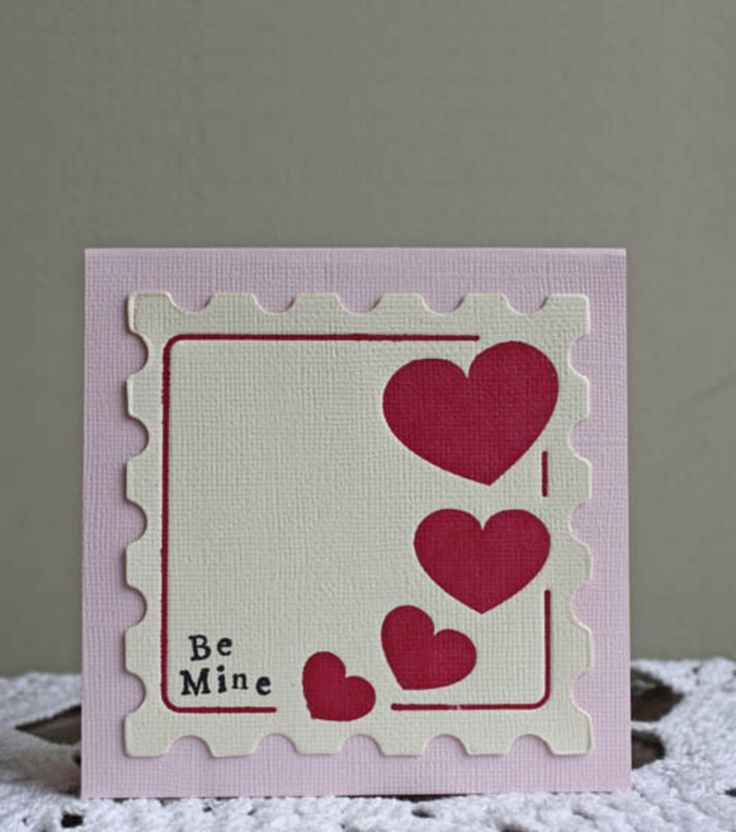 #DIY Valentine's Day Card: Stamps Cards, Valentines Ideas, Cards Ideas, Crafts Cards, Valentines Stamps, Valentines Day, Valentines Cards, Cards Crafts, Diy Cards