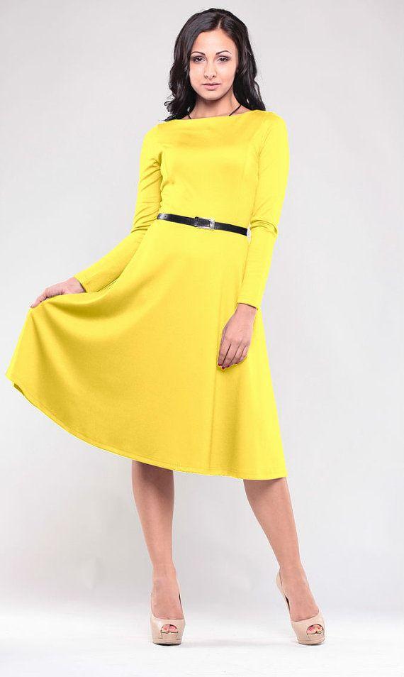 Yellow dress. Jersey woman dress. Autumn Yellow dress . Wedding dress. Flared skirt. Long sleeve dress.Elegant dress .Retro dress.