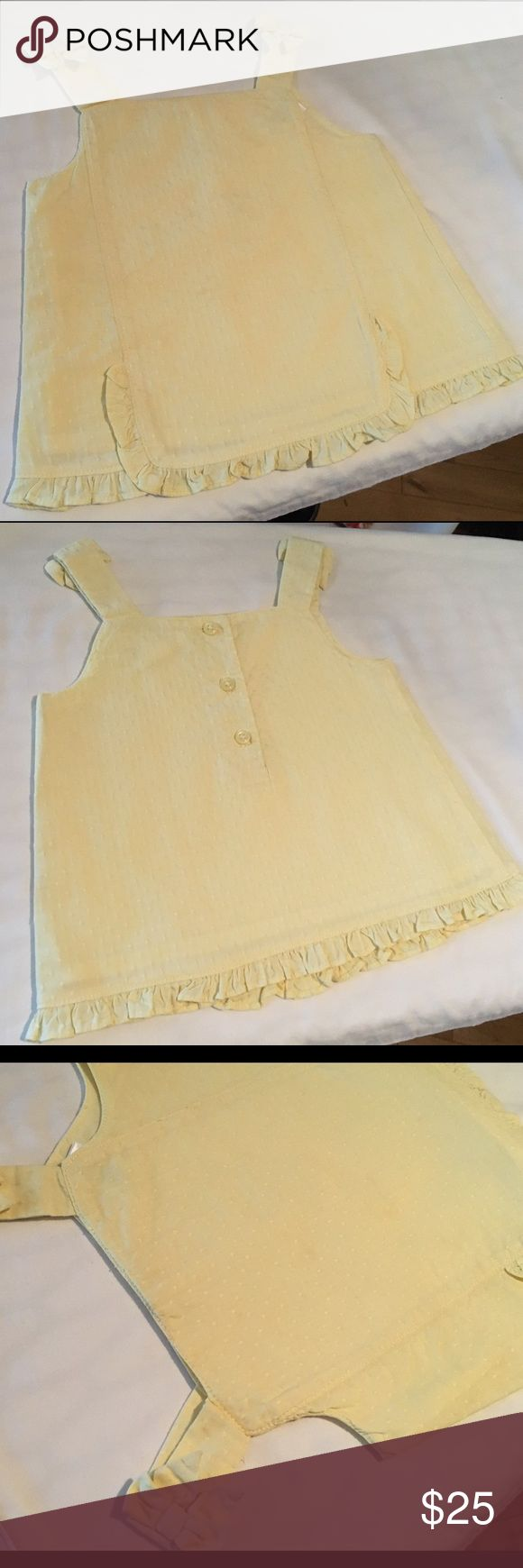 Janie and Jack Poplin Dot Apron Tank W/Bows Adorable yellow cotton tank with dot texture well sewn bows on straps and Button Down back. Great condition. Slight smudges (pictured) barely noticeable. Very cute apron pleat. Well designed. Great quality. Guaranteed clean from a smoke free home! Ships fast! Janie and Jack Shirts & Tops Tank Tops