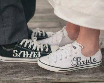 KUNDENSPEZIFISCH KONFEKTIONIERT - Braut & Bräutigam benutzerdefinierte Hochzeit Converse
