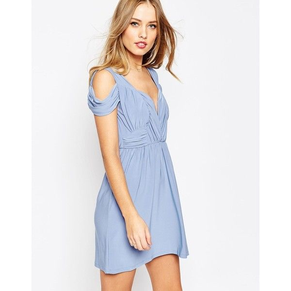 ASOS WEDDING Drape Cold Shoulder Mini Dress ($60) ❤ liked on Polyvore featuring dresses, dusty blue, draped cocktail dress, asos cocktail dresses, short white dresses, white dress and asos dresses