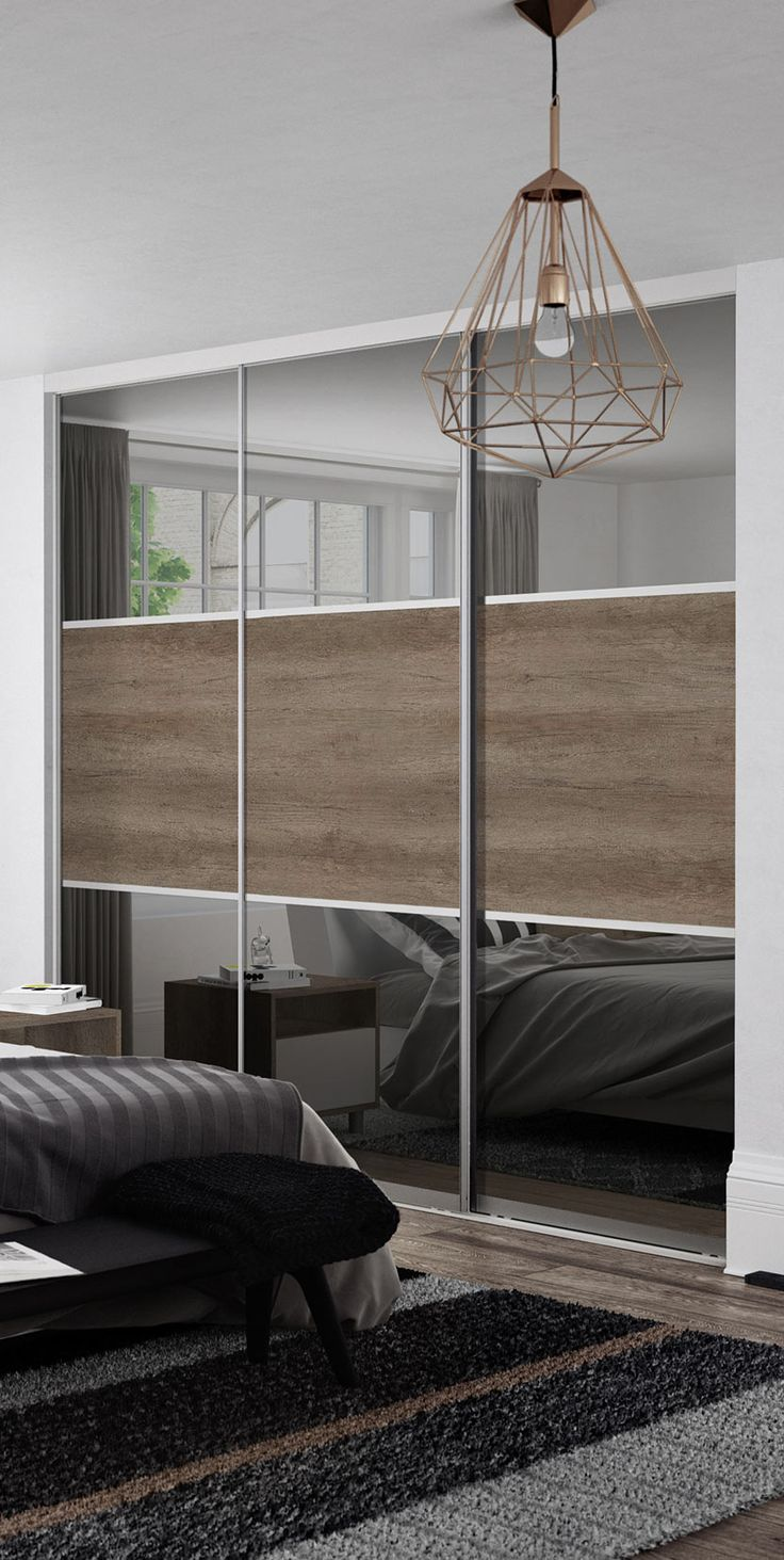 Premium Midi: 3 panel Grey Mirror / Nebraska Oak doors with Satin Silver frame