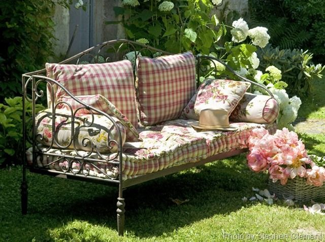 .: Gardens Seats, Yard, Book, French Country, Floral Cushions, Daybeds, Wrought Irons, Old Beds, Gardens Benches
