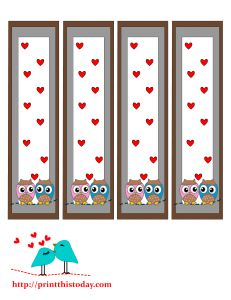 free printable bookmarks featuring cute owls This set of bookmarks is decorated with two very cute owls and a background full of hearts. You can also use these bookmarks as valentine's day favors.