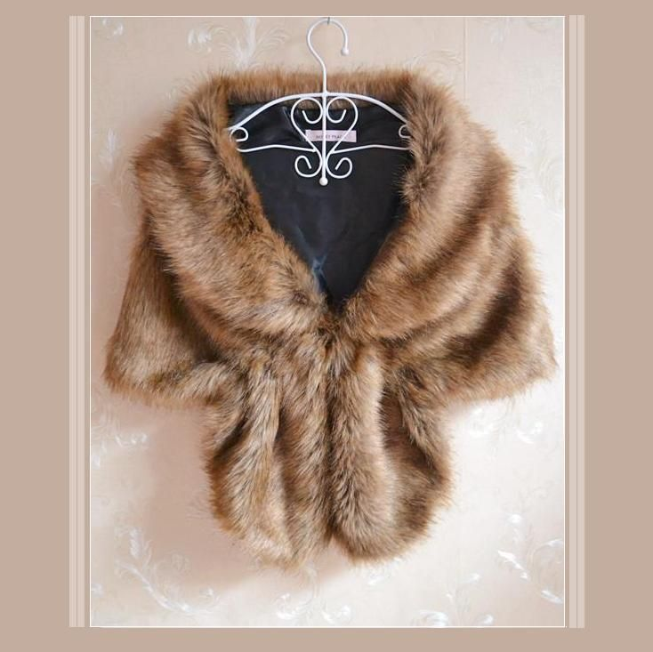 Natural Brown Sable Mink Faux Fur Stole Cape with Collar - Wraps & Jackets
