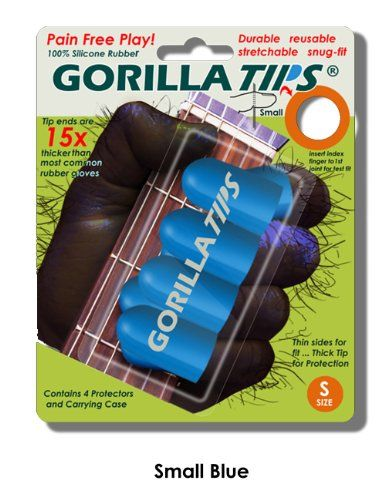 Small Blue Gorilla Tips Fingertip Guards/Protectors For Guitar, Banjo, Mandolin, Etc., 2015 Amazon Top Rated Finger Pads & Moisteners #Book