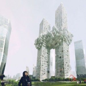 Two skyscrapers joined together at the 27th floor. The Cloud by MVRDV