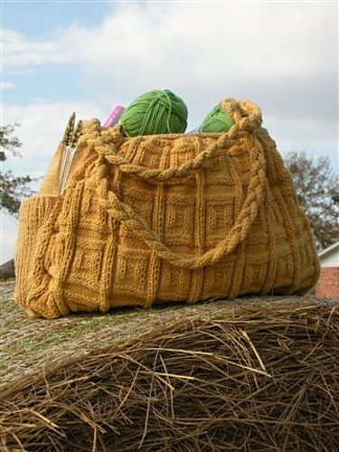 Big Honkin' Bag I made 2 years ago in blue cotton. Love the bag, but it about killed my hands knitting all that cotton.