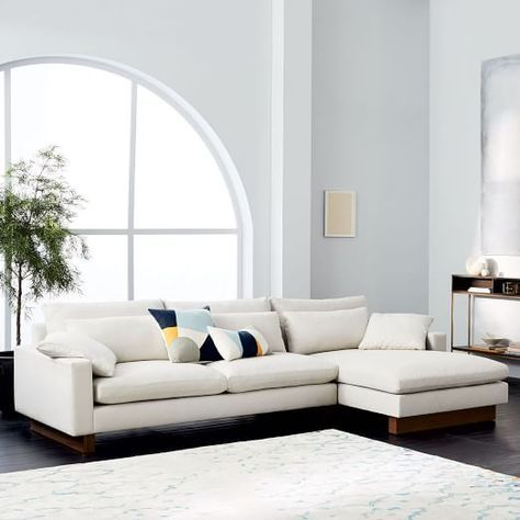 Harmony is our most comfortable sofa ever. Made for sprawling out or curling up, its frame is made with responsibly sourced wood while its filling is made from recycled plastic bottles | shop now at west elm