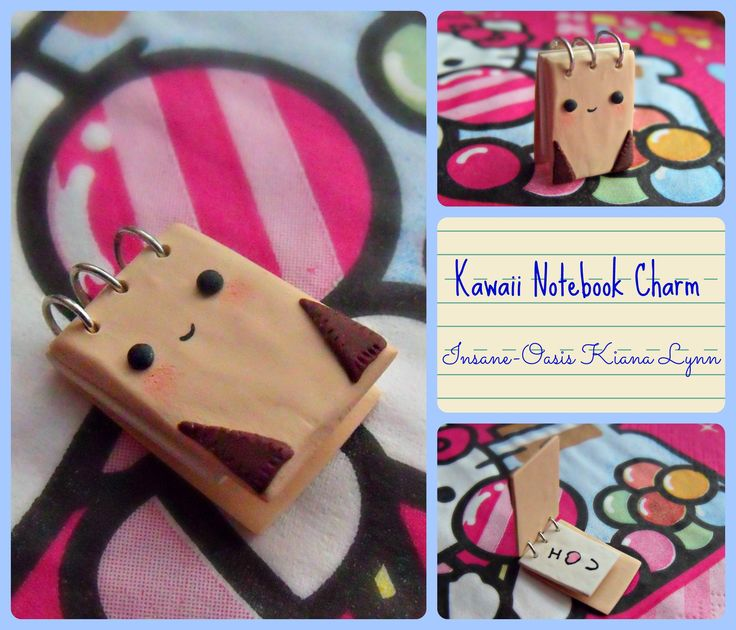 Kawaii notebook charm made from polymer clay, which also flips open!