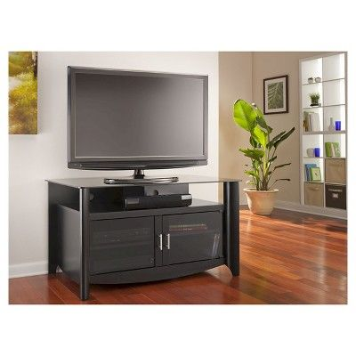 Bush Furniture Aero Classic Black TV Stand, fits up to 50 TV