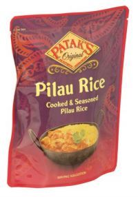 Buy 6 for £0.90 each    Cooked and seasoned pilau rice that is suitable for vegetarians  and contains no artificial colours or preservatives.     Ingredients: cooked basmati rice, onions, flavouring, sunflower oil, salt, cumin seeds, emulsifier E471, stabilisers, guar gum, xanthan gum, citric acid.