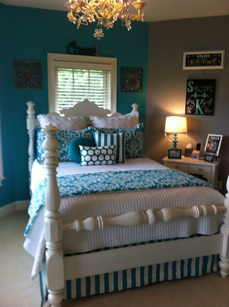 282 best turquoise white black bedroom ideas images on for Black and white and turquoise bedroom ideas