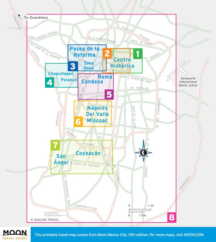 Travel maps of Mexico City by region.