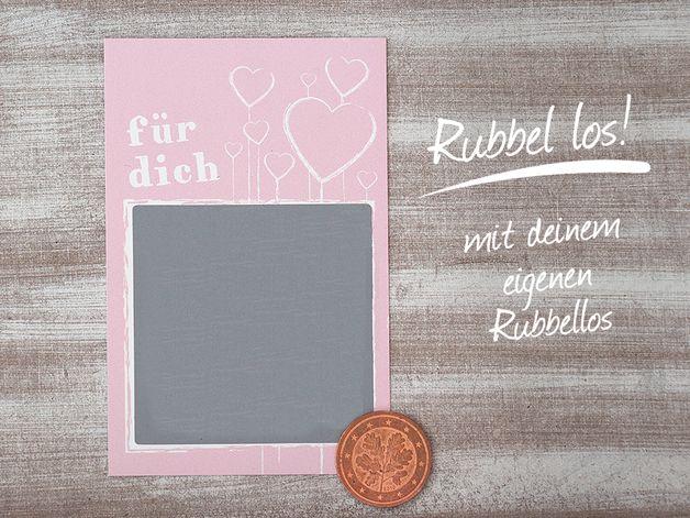 **25 Stück** hochwertige, rosafarbene Rubbelkarten / Rubbellose _ Überrasche deine Liebsten mit einem tollen, selbstgemachten Rubbellos!♥_ Diese süßen, individuellen Rubbellose sind das...