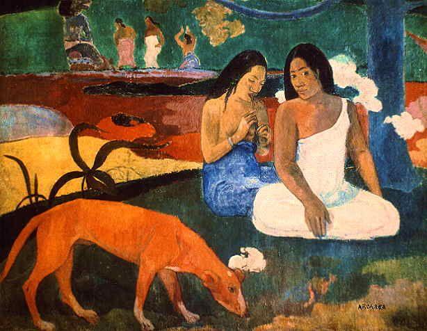 Eugène Henri Paul Gauguin (7 June 1848 – 8 May 1903). The red dog. A primeira vez que se incorpora o desenho na preparação da pintura.