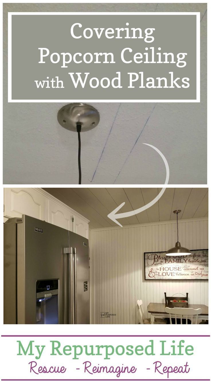 Covering Popcorn Ceiling with Wood Planks | How to's | Pinterest ...