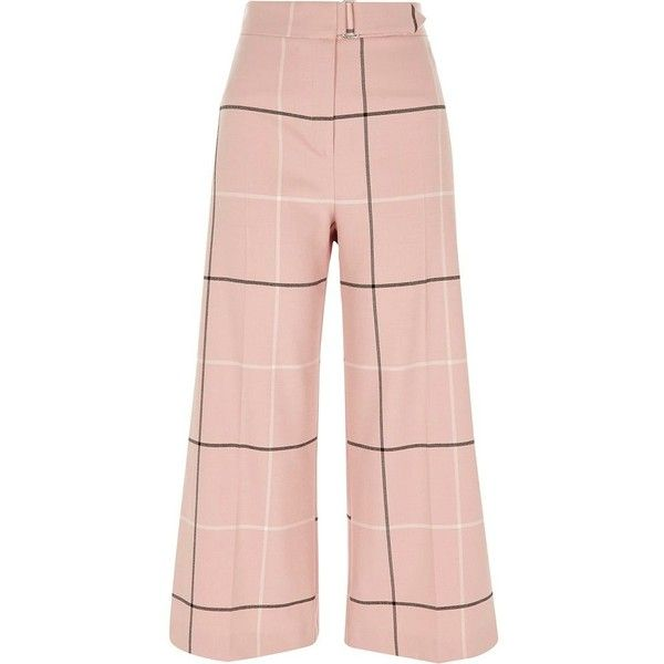 River Island Pink check belted culottes ($76) ❤ liked on Polyvore featuring pants, capris, pink, trousers, wide leg trousers, women, pink pants, wide leg cropped trousers, high-waisted wide leg pants and high waist pants