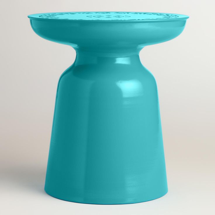 Capri Blue Punched Metal Dimitri Drum Stool Capri Blue