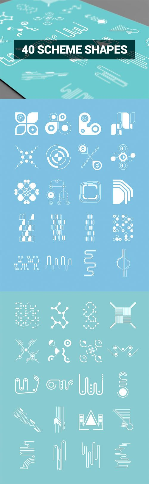 Vector Abstract Shapes – 40 Scheme Shapes » Vector, PSD Templates, Stock Images, After Effects, Fonts, Web Design, Indesign