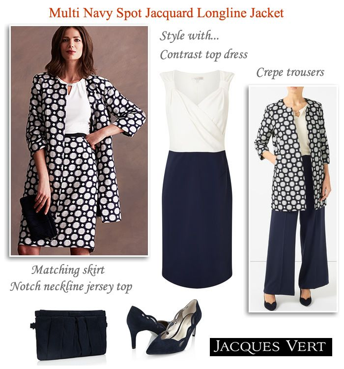 Longline Navy Spot Jacket Matching Skirt Dress & Trousers