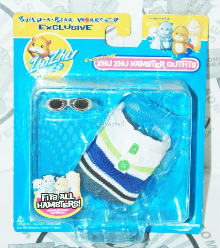 ZHU ZHU PETS HAMSTERS BUILD-A-BEAR STRIPED POLO & GLASSES CLOTHING OUTFIT 2010 #Cepia