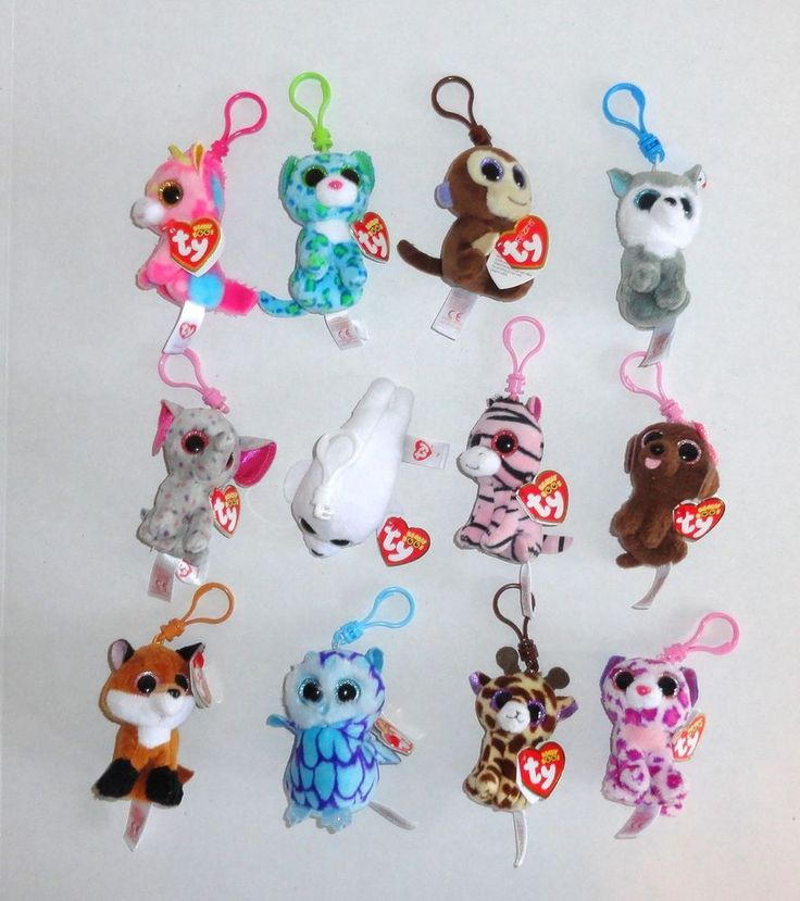 New TY Beanie Boos Plush Backpack Key Clips Set of 12. #beanieboos #toys #kids