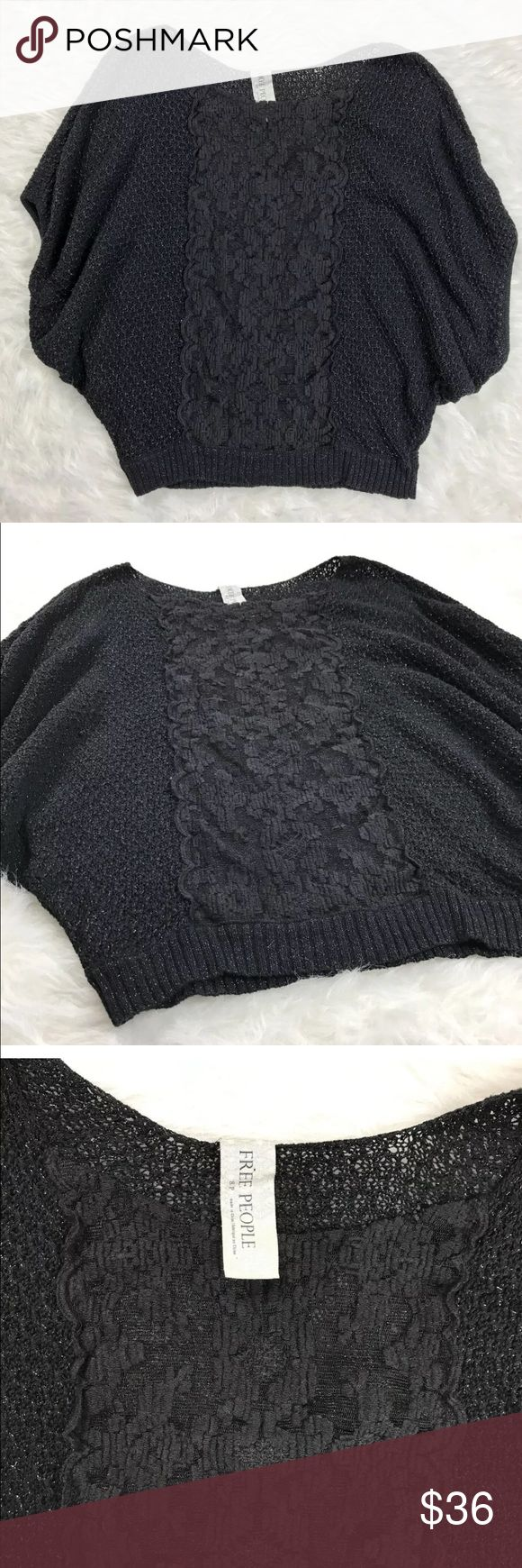 """💕Free People S Shimmer black sweater loose Knit Free People Black Lace Dolman short sleeve shimmer knit sweater.  Sweater is a loose knit with lace down the center front, a very pretty sweater. Size S  flay lay measurements  armpit to armpit 20"""" armpit to bottom 16"""" top to Bottom 23"""" all items from a smoke free home Free People Sweaters"""