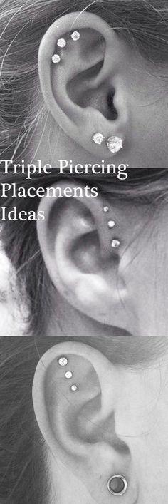 Cute Ear Piercing Ideas at MyBodiArt.com - Triple Forward Helix Earrings - Triple Cartilage Constellation Studs