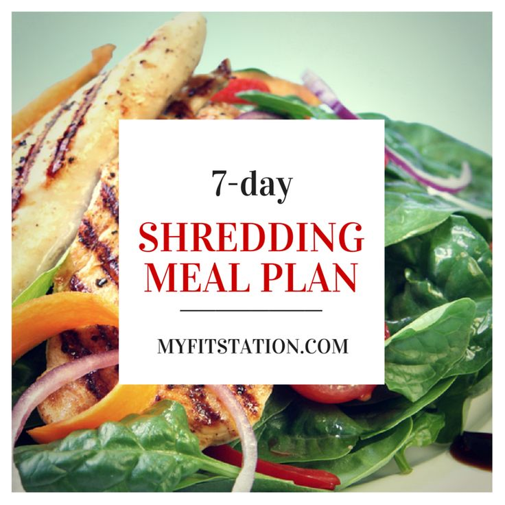 7-day Shredding Meal Plan - www.myfitstation.com #mealplan #fitness