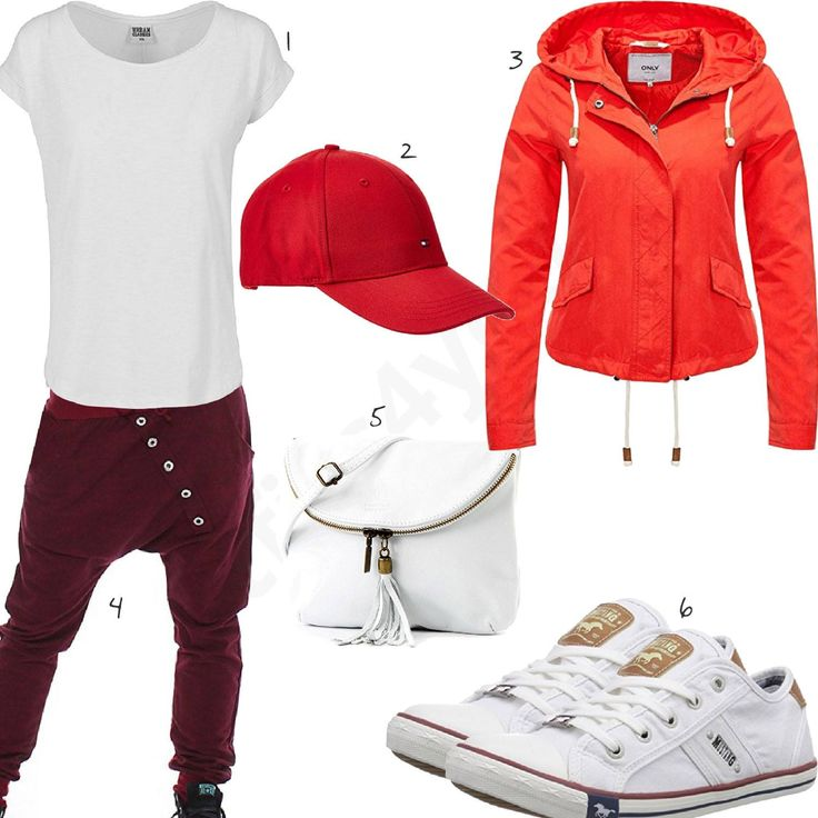 Weiß-Rotes Damen-Outfit mit Urban Classics Shirt, Tommy Hilfiger Cap, Only Jacke, Mustang Sneaker, modamoda Tasche und lässiger Hose. #outfit #style #fashion #handtasche #espadrilles #inspiration #pullover #handtassche #sneaker #fashion #damenoutfit #womenswear #clothing #styling #clothes #frauenmode #damenmode