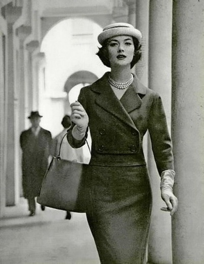 Rose Marie in a wool suit by Jean Patou, 1958