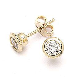 Runde øreringe i 9 karat guld med zirkoner