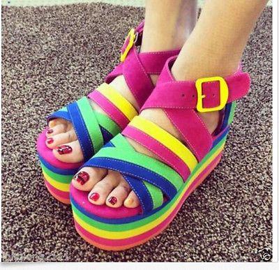 Womens cores do arco-íris plataforma inferior blet oco fivela Plana Sandálias Sapatos Novos
