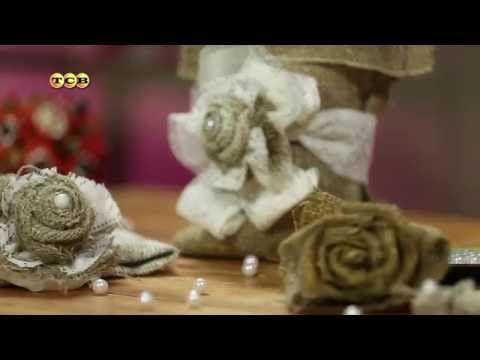 Цветы из мешковины. Мамам на заметку - YouTube