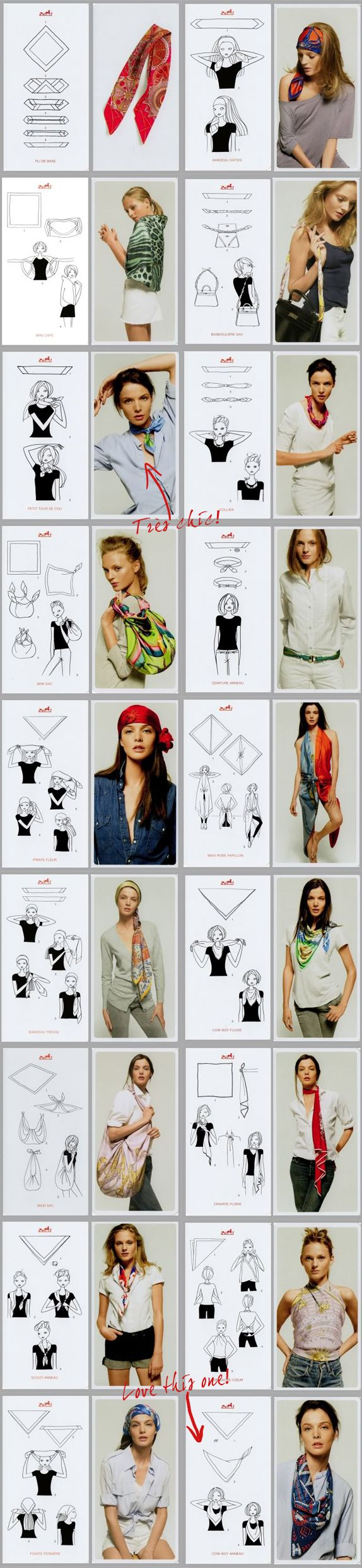 50 ways to wear a scarf, some new to me. I especially like the one where a large square scarf is folded into a handbag
