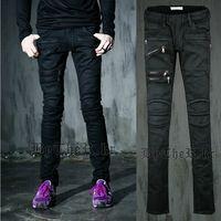 Harajuku 2014 gothic reißverschluss skinny slim fit rock männer jeans designer cool overalls herren jeans marke schwarze, frei schiff