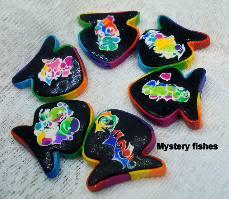 Handmade polymer clay Fishes starfishes beads creatures summer beach  seaside  jewelry craft mystery  happy sophisticated striped, glittered by 1000and1 on Etsy