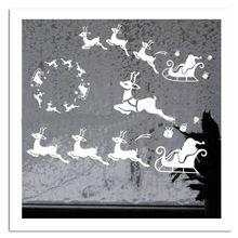 &% Mas05 Dekoratív karácsonyi ugró rénszarvas Mikulás fali matrica Merry…