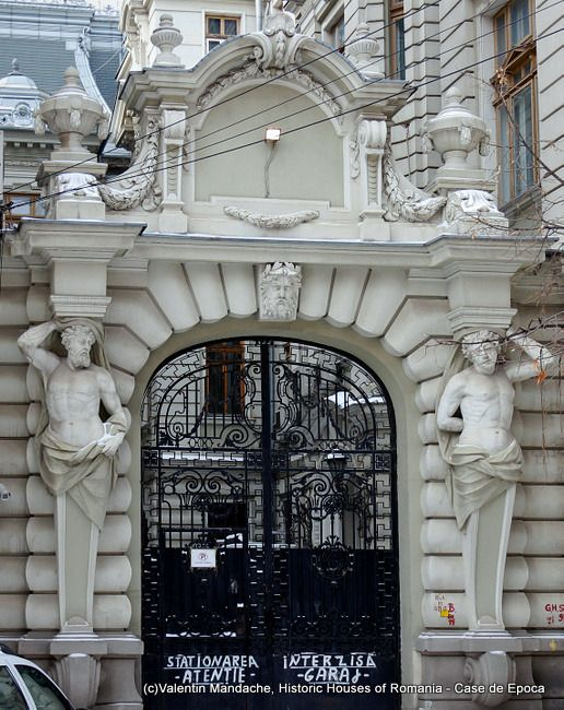 Atlantes at the gate of BCR building (1900s, Beaux Arts style) in University Square, Bucharest (©Valentin Mandache)