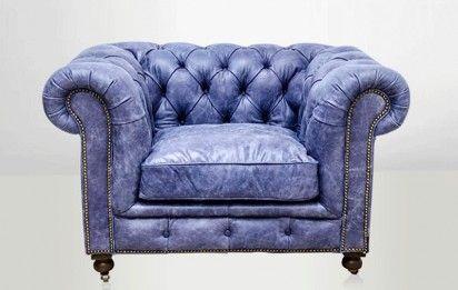 Fauteuil Chesterfield cuir bleu