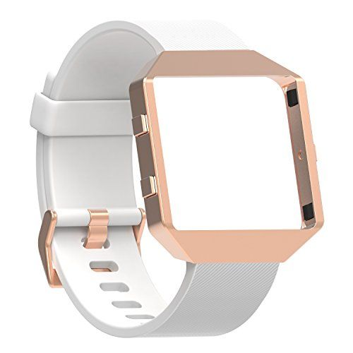 """Fitbit Blaze Bands Small Large Austrake Classic Replacement Silicone Strap for Fitbit Blaze Watch Accessory for Women Men (A White Band NEW Rose Gold Frame Large (6.7""""- 8.5""""))"""