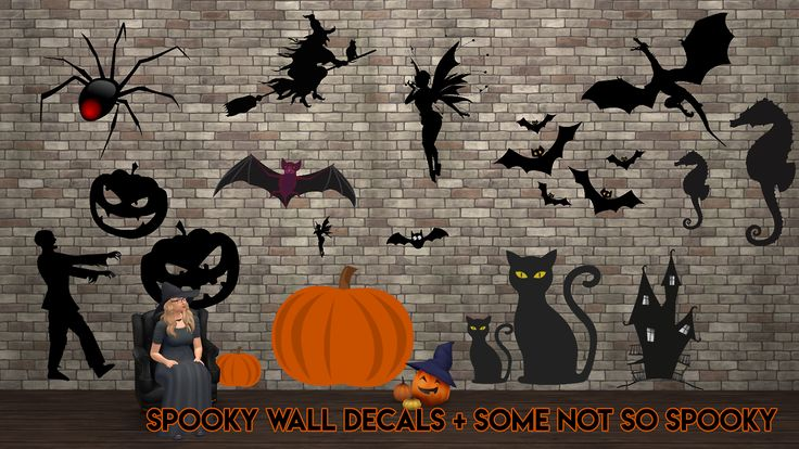 Part two of my Simblreen gifts :) Some spooky (and not so spooky) wall decals. All options pictured. Recolors of a basegame mesh. The spider swatch is the very last for anyone that wants to remove...